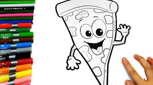 fun cartoon pizza coloring book for kids how to coloring for