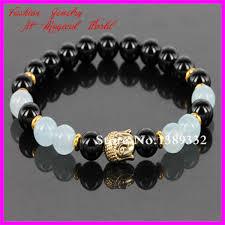 beads bracelet designs images 1pc mens matte black nature beads bracelet gold color skull jpg