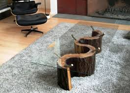 tree trunk glass coffee table