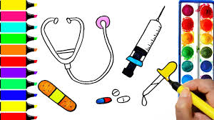 doctor kit coloring page drawing injection pills bandage