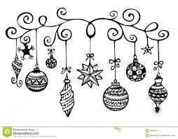 hanging christmas ornament clipart black and white clipground