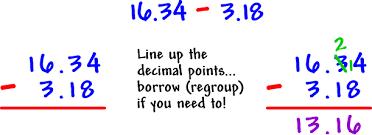 how to subtract decimals subtraction coolmath com
