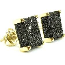 mens black diamond earrings k gold black diamond d square earrings dz designs nyc eternity