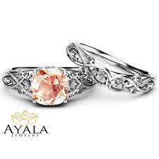 morganite bridal set pink morganite bridal set 14k white gold morganite