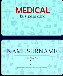 name card template medical icons decor blue vignette vectors stock