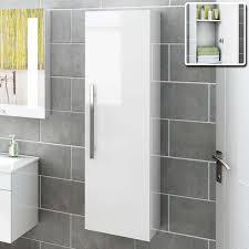 beach wall mount tall grey bathroom cabinet in white gloss tall