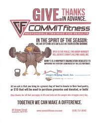 commit fitness offering free class thanksgiving day morning