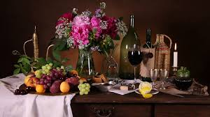 flowers wine classical still in style with fruit flowers wine and