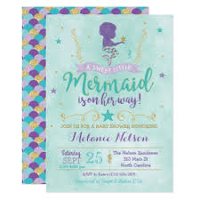 mermaid baby shower invitations mermaid baby shower invitation lavender and teal zazzle