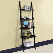 5 tier wooden wall rack leaning ladder shelf unit bookcase display