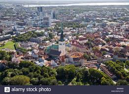 aerial view of tallinn old town new modern city center in the