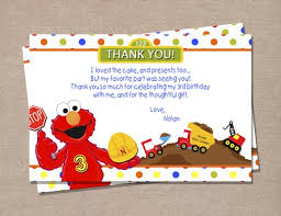 elmo construction birthday thank you card perfectfavors