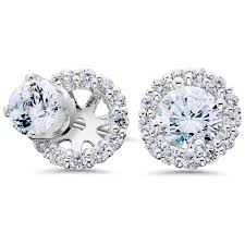 14k white gold earrings women s 3 4ct diamond studs and halo earring jackets solid 14k