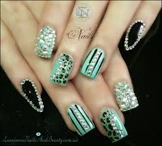 pointy nail designs with diamonds