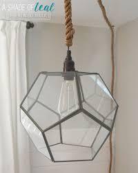 Diy Glass Pendant Light Remodelaholic Terrarium To Geometric Pendant Light