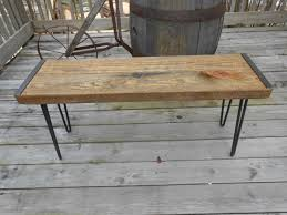 wood bench industrial bench reclaimed barn wood bench hairpin