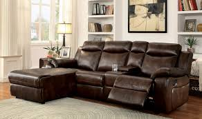 Sectional Sofas With Recliners And Cup Holders Hardy Transitional Style Brown Leatherette Sofa Recliner Sectional