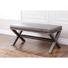 living marcus grey leather nailhead trim extended x bench