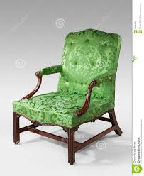 Armchair Upholstered Antique Arm Chair Light Green Upholstery On Light Background Stock
