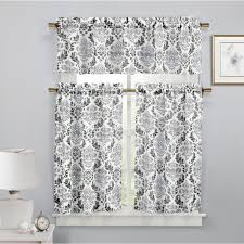 Damask Kitchen Curtains by Duck River Melbourne Faux Linen Damask 3 Piece Kitchen Curtain Set