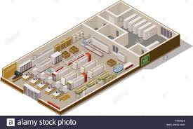 Supermarket Floor Plan by Vector Isometric Supermarket Cutaway Stock Vector Art