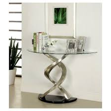 iohomes kelsi modern twisting glass top sofa table satin plated