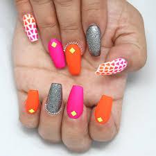 matte neon coffin nails by decorateddigits decorateddigits
