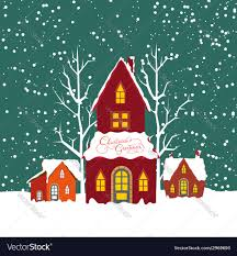 Christmas House by Merry Christmas Background With Christmas House Vector Image