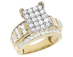 cinderella engagement ring women s 10k yellow gold diamond cluster solitaire ring baguette