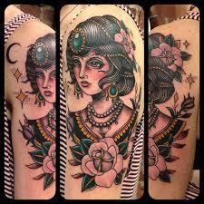 creative neo traditional half sleeve tattoo by matt houston
