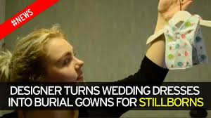 wedding dress captions designer transforms wedding dresses into tiny burial gowns for