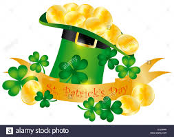 happy st patricks day banner with leprechaun hat gold coins and