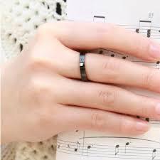 couples wedding bands black titanium steel promise rings for couples wedding bands