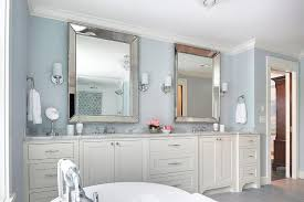 Beveled Mirror Bathroom Ivory And Blue Bathroom With Beaded Beveled Mirrors Transitional