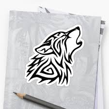 tribal wolf howl stickers by hareguizer redbubble