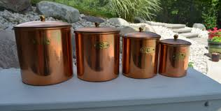 copper kitchen canister sets vintage copper canister set flour sugar coffee and tea solid