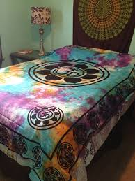 Tie Dye Comforter Set Om Aum Yoga Indian Lotus Flower India Hippie Boho Tie Dye Wall