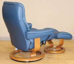 Blue Leather Chair And Ottoman Stressless Kensington Large Mayfair Paloma Oxford Blue Leather