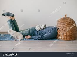 unknown male lying on yoga mat stock photo 726346228 shutterstock