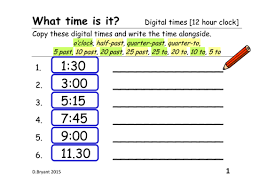 telling the time from a digital clock 12 hour clock and 24 hour