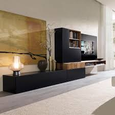 Tv Wall Units Contemporary Tv Wall Unit Lacquered Wood Walnut Modular