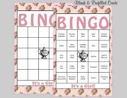 60 tea party baby shower bingo cards 60 prefilled bingo