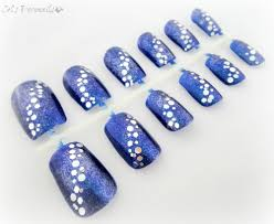 blue glitter frost nails winter nail art set handpainted nails
