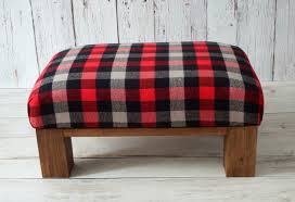 Plaid Chair And Ottoman by Upholstered Rustic Red Gray Plaid Ottoman Pouf Cabin