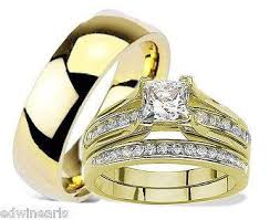 stainless steel wedding ring sets women s men s yellow gold ip stainless wedding ring set edwin