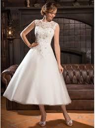 a line princess scoop neck tea length tulle lace wedding dress