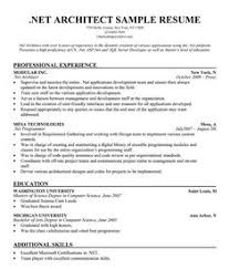 Dot Net Resume Sample by Web Architect Resume