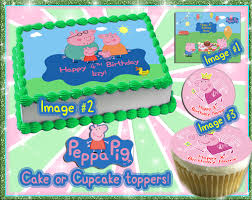 peppa pig birthday supplies peppa pig edible cake or cupcake toppers by pictures4cakes on etsy