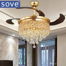 Retractable Ceiling Light by 2017 Sove Modern Luxury Folding Ceiling Fan Crystal Led Lamp