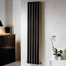 heated black designer vertical column radiators 1800mm tall